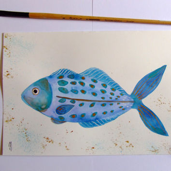 Fish Original Watercolor Painting Ink Fish Art Gold Blue Fish Decor Fish Wall Art Fish Fine Art Animal Ocean Contemporary Art Fish
