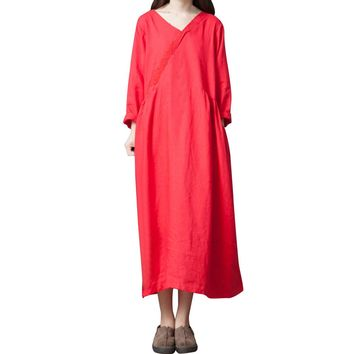 Autumn Women dress Vestidos De Fiesta Plus Size Casual Dress Solid Loose Long Sleeve Dress Party Christmas Dress Women