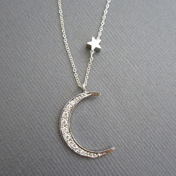 Moon and Star necklace, Star and Moon necklace, Star necklace, Moon Necklace, I Love you to the moon and back.
