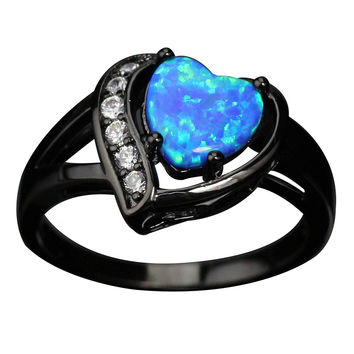 Heart shaped Blue White Opal Ring AAA cubic Zirconia  Vintage Black Gold Wedding Rings for Women