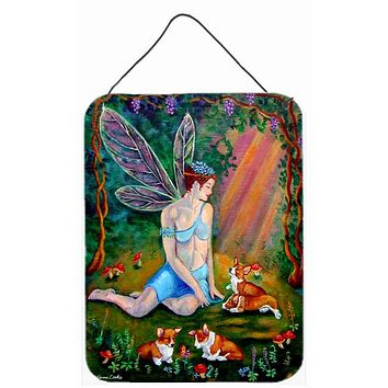 Fairy in the woods with her Corgis Wall or Door Hanging Prints 7295DS1216