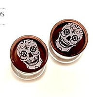 Sugar Skull Glass Plugs 00G (10mm)