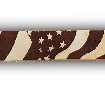 Customized 3D Laser Engraved SKINNY Leather Wristband - USA Old Glory Fourth of July American Flag Logo