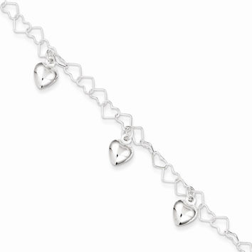 Sterling Silver Polished Dangling Heart Bracelet - Children's Jewelry