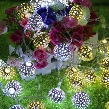 New 20pcs metal hollow spherical solar string  holiday lights Christmas lights LED Party Decor