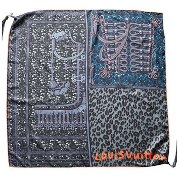 Louis Vuitton Womens Limited Edition Stephen Sprouse Grey Silk Tassel Scarf
