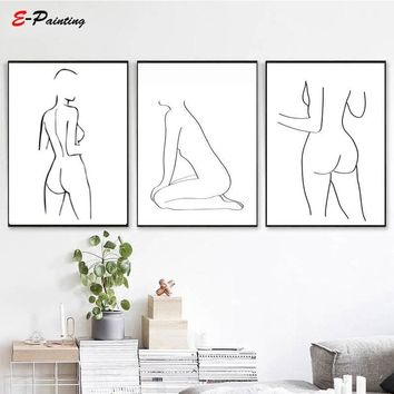 Sexy Women Body Canvas Painting Nordic Poster Print Modern Wall Art Abstract Picture For Living Room Bedroom Home Decor Poster