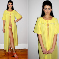 Vintage 60s Peignoir Lingerie / Sheer Sexy Chiffon / Buttercup Yellow / Tie Front / Floral Applique / Bell Sleeves / Mad Men / Nightie