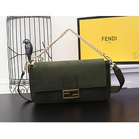 FENDI WOMEN'S LEATHER LARGE BAGUETTE HANDBAG SHOULDER BAG