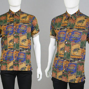 Vintage 80s 90s Tori Richard Hawaiian Shirt Mens Small Tiki Shirt Rockabilly Shirt Holiday Shirt Aloha Shirt Animal Print Cotton Lawn 1990s