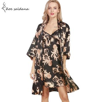 Zoe Saldana 2017 Women Print Silk Nightgown Robe Set Sexy Strap Dress Half Sleeve Robe Sleepwear Two Piece Female Nightwear