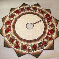 Holiday Flourish Christmas Tree Skirt Quilt, Cardinals and Poinsettias, Soft Gold, Burgundy and Green, 62 inch Diameter