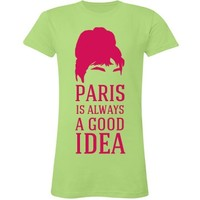Paris Is Always Audrey: Custom Junior Fit LA T Fine Jersey T-Shirt - Customized Girl