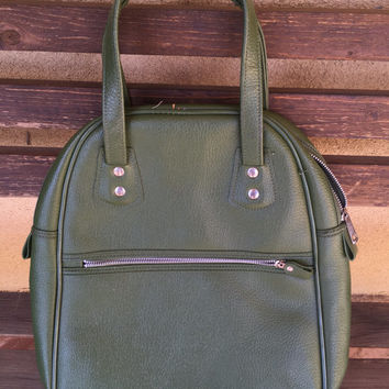 Bowling Bag, Green Bowling Bag, Olive Green Bowling Bag, Faux Leather Bowling Bag, Vegan Handbag, Vegan Green Purse, Vegan Bowling Bag