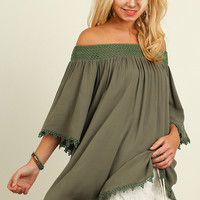 Umgee Boho Olive Off Shoulder Tunic Top Crochet Trim