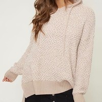 boxy fuzzy long sleeve knit hoodie - taupe
