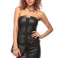 Black Night Out Faux Leather Plunging Peplum Dress @ Cicihot sexy dresses,sexy dress,prom dress,summer dress,spring dress,prom gowns,teens dresses,sexy party wear,ball dresses