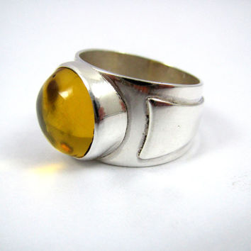 Men's Yellow Amber and Silver Ring / Men's Amber Jewelry