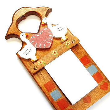 Vintage Wood Memo Holder Leave a Note Door Hanger Wall Hanging Duck Decor Memo Note Pad