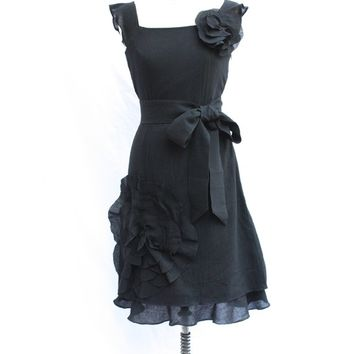 Oversized flower corsage dress with belt and ruffle layer, bridesmaid dress, mother of bride dress, wedding, custom size with no charge