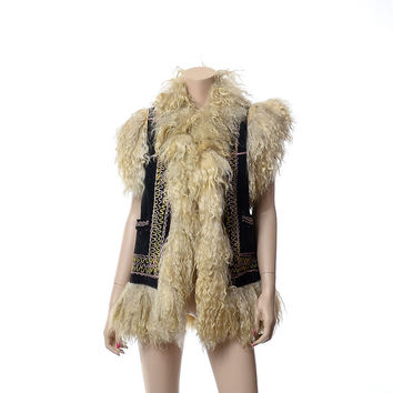 Vintage 60s 70s Tibetan Curly Lamb Embroidered Leather Vest 1960s 1970s Woodstock Rocker Gypsy Festival Gilet Jacket / as found condition