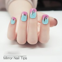 24pcs/set Colorful Mirror Fashion Design Fake Nail Tips With Glue Metallic Silver Cute Unghie Finte False Nails Art Women Tool
