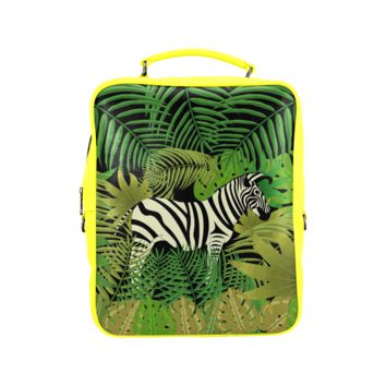 Psylocke Leather Hiking Backpack with Zebra Banana Tree Leaves Background