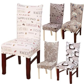 Hyha Floral Print Letter  Dining Chair Cover Spandex Elastic Anti-dirty Slipcovers Stretch Removable Hotel Banquet Seat Case
