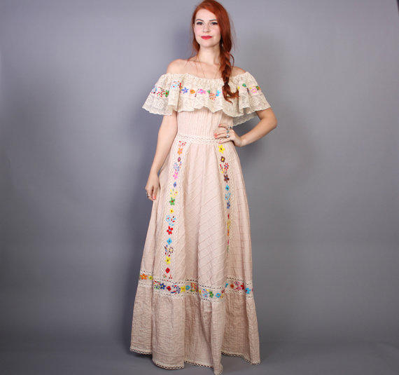 Vintage Mexican Wedding Dresses For  : S mexican wedding dress embroidered from lucky vintage