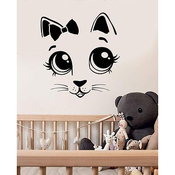 Vinyl Wall Decal Cartoon Cat Kitten Bow Tie Children's Room Stickers (3042ig)