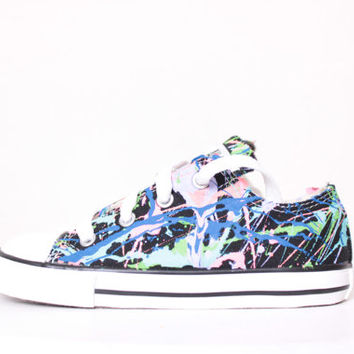 Toddler Black Low Top Splatter Painted Converse Sneakers Toddler Size 10, Balloons Colors