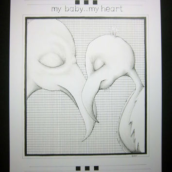 MY HEART:  Original art for nursery or child,  drawing in pen and ink , black and white artwork, typography for baby  9x12