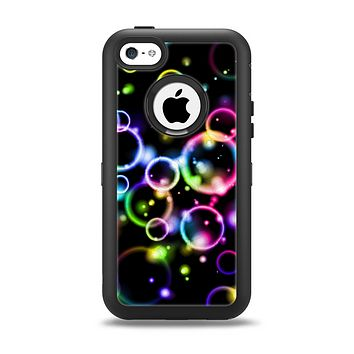 The Glowing Neon Bubbles Apple iPhone 5c Otterbox Defender Case Skin Set