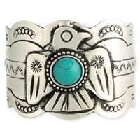Thunderbird and Turquoise Cuff Bracelet
