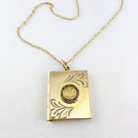 Vintage Gold Filled Book Locket Necklace College of William & Mary Photo Book Style Enamel Locket Pendant Jewelry