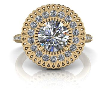 Free Center Stone! Flower Style Diamond Halo Engagement Ring - Celestial Premier Moissanite - Customize Your Ring