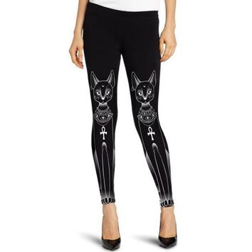 Punk Style Black Egyptian Cat Stamp Hippie Fashion Gothic Skinny Casual Leggings Women Plus Size Leggings NQ814122