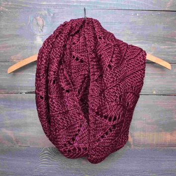 knit leaf pattern infinity scarf (more colors) Day-First™