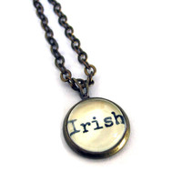 Irish Ireland Word Mini Pendant Brass Setting Library Card Necklace One of a Kind
