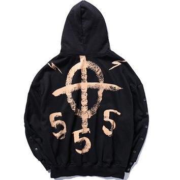 Autumn and winter new unique graffiti printing men and women hooded hood hooded sweater Black