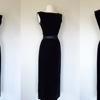 1980's wiggle dress, Audrey Hepburn long floor length black velvet sleeveless formal cocktail dress, Small, US 6