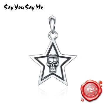 925 Sterling Silver Star Skull Pendants Necklace