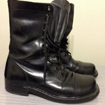 Vintage Black Combat Boot Military Tall Lace Up Size 9 Men's