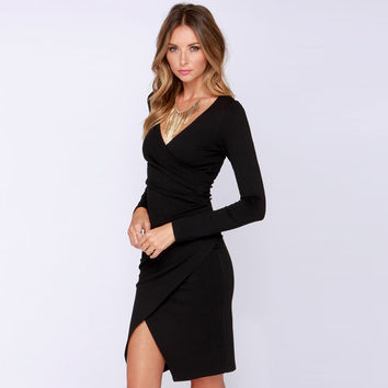 Long Sleeve V-Neck Wrap Bodycon Dress
