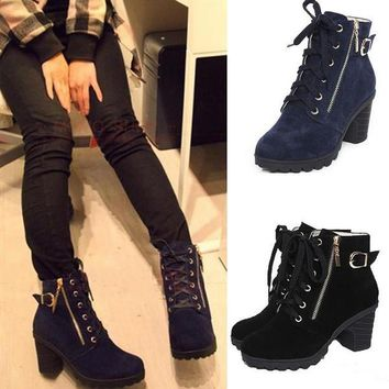 Black Blue Lace Up Zipper Lady Motorcycle High Heel Shoes Ankle Martin Boots = 1697488