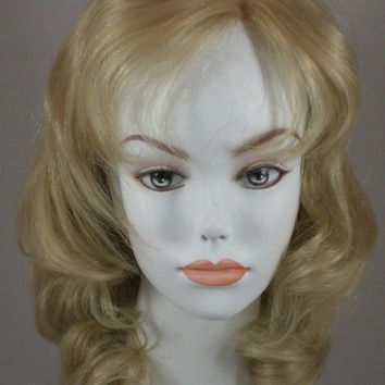 Blond Mid-Length Human Hair Wig w/Big Curls & Bangs - Monofilament Top