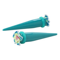 Acrylic Teal Hawaiian Flower Taper 2 Pack