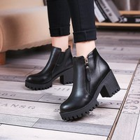 Hot Deal On Sale Winter High Heel Dr. Martens Korean Cotton Zippers England Style Boots [11144747719]