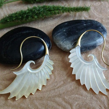 "Tribal Hanging Earrings, ""Golden Wings"" Naturally Organic, Mother of Pearl, Brass Posts, Hand Carved"