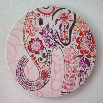 Mouse Pad mousepad / Mat - round - Pretty pink Elephant - Computer Accessories Geekery Custom Desk Coworker Gifts Office Gifts
